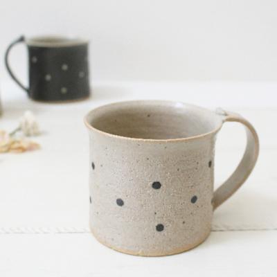 陶器 マグカップ ドット 水玉 白黒 信楽焼