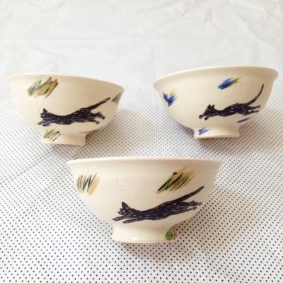 子供用 茶碗  黒猫 11cm  小さめ茶碗  廣川みのり