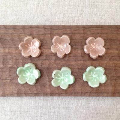 梅の花 箸置き ピンク/グリーン 梅干置き