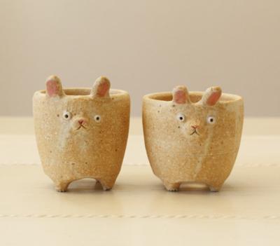 植木鉢 うさぎ 小 かわいい 動物 多肉 信楽焼 利十郎窯