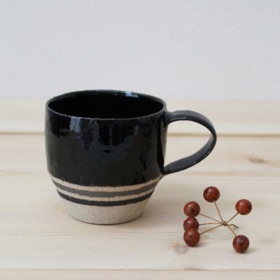 コーヒーカップ 黒 ボーダー 信楽焼
