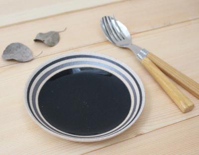 取り皿 黒 15cm 受け皿 信楽焼