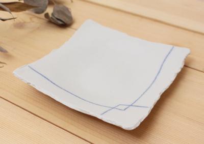 ブルーライン 角皿 四角皿 ちぎり 白