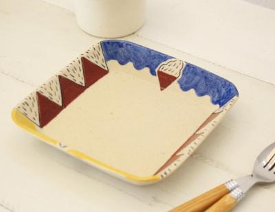 カラフル 角皿 陶器 廣川みのり 浅型角鉢 18cm
