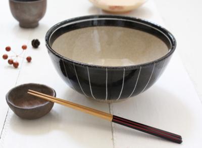 大きいうどん鉢 麺鉢 黒一珍 丼鉢 20cm