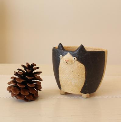 植木鉢 猫 中 かわいい 動物 多肉 信楽焼 利十郎窯