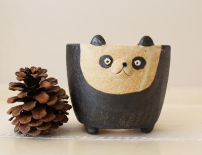 植木鉢 パンダ 中 かわいい 動物 利十郎窯