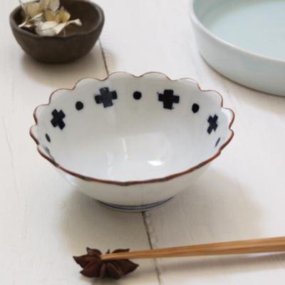 花びら小鉢 クロスドット 陶峰窯 京都染付 12cm