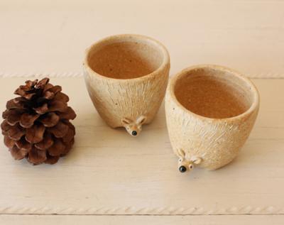 植木鉢 ハリネズミ 動物 多肉 利十郎窯