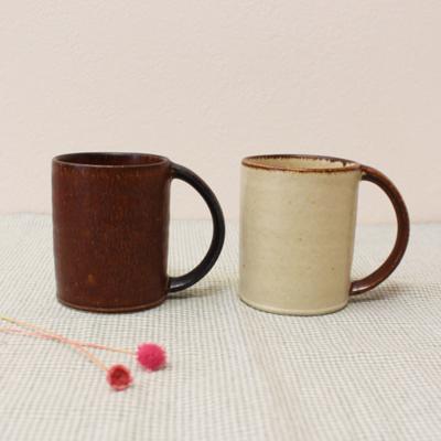 マグカップ ストレート 陶器 キナリ/カカオ