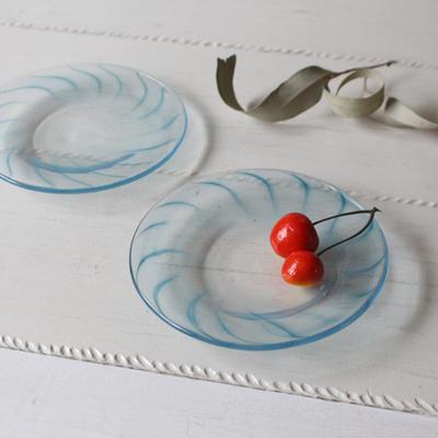 ガラス小皿 吹きガラス 14cm 青ライン hono工房