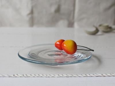 ガラス小皿 吹きガラス 12cm  青フチ hono工房