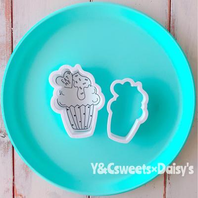 【Y&Csweets original】ハート付きカップケーキ(小)のクッキーカッター