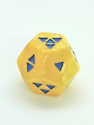 12面体形D4 黄色地に青