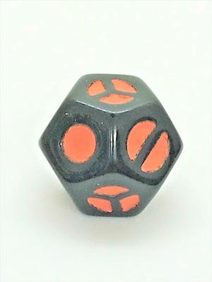 12面体形D4 黒地に橙