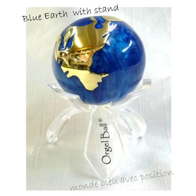 【送料無料】癒しの音色のハーモニー♪オルゴールボールハンドベル地球柄ブルー径40mm