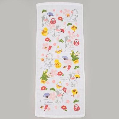 2021年ご挨拶タオル「丑と縁起物柄」年賀熨斗付き袋入り個別包装