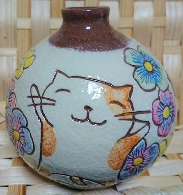 ねこ田商店 美野里焼 平瀬マリ子 一輪挿し 猫と花