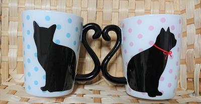 マグカップル黒猫/ドット ペアギフト