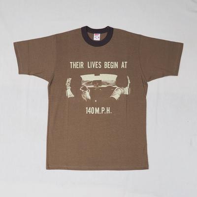 """フリーホイーラーズ 半袖Tシャツ """"ホリゾンタル アメリカ"""" ASH BROWN×CHARCOAL BLACK Mサイズ"""