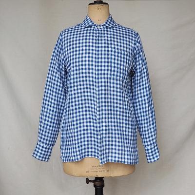 ジャンゴアトゥール フライフロント ギンガムチェック リネンシャツ  blue x white