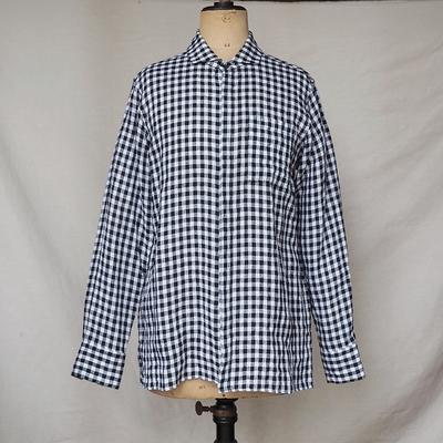 ジャンゴアトゥール フライフロント ギンガムチェック リネンシャツ  black x white Mサイズ