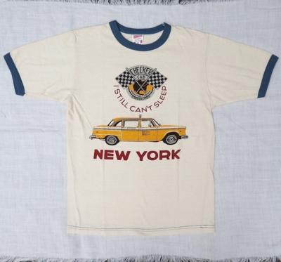 """フリーホイーラーズ 半袖Tシャツ """"ニューヨーク タクシー"""" STRAW CREAM×BLUEBERRY XXSサイズ"""