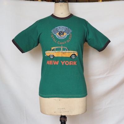 """フリーホイーラーズ 半袖Tシャツ """"ニューヨーク タクシー""""        REPTILE GREEN×JET BLACK  Sサイズ"""