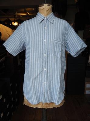 フリーホイーラーズ ドナヒュー半袖シャツ SAX/WHITE/BLUE STRIPE 16サイズ