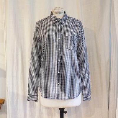 ホームスパン ギンガム レギュラーシャツ ネイビー Mサイズ