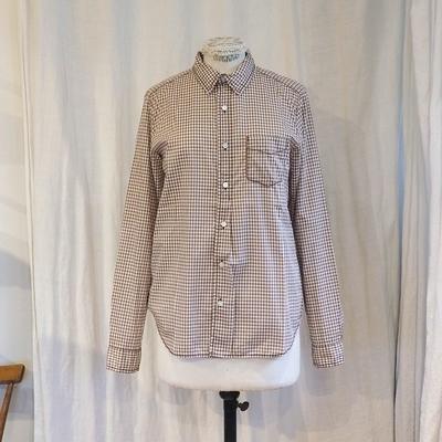 ホームスパン ギンガム レギュラーシャツ ブラウン Mサイズ