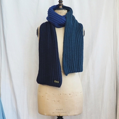 ダッパーズ Bold Border Low Gauge Knit Scarf LOT1088 NAVY×BLUE×GREEN