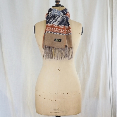 ダッパーズ Cashmink Scarf by V.FRAAS LOT1210 NAVY×ORANGE(ETHNIC)