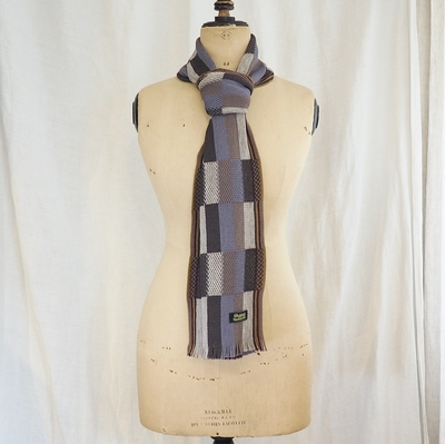 ダッパーズ Russell Knitting Woolen Scarf by V.FRAAS LOT1212 BLUE GRAY×KHAKI(MESH)