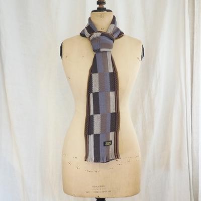 ダッパーズ Russell Knitting Woolen Scarf by V.FRAAS LOT1212 BLUE GRAY×KHAKI(MESH)