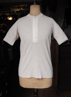 アジャスタブルコスチューム フライスニット S/S ヘンリーネック   Tシャツ オートーミール