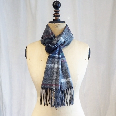 ダッパーズ Cashmink Scarf by V.FRAAS LOT1277 GRAY/GREEN(CHECK)