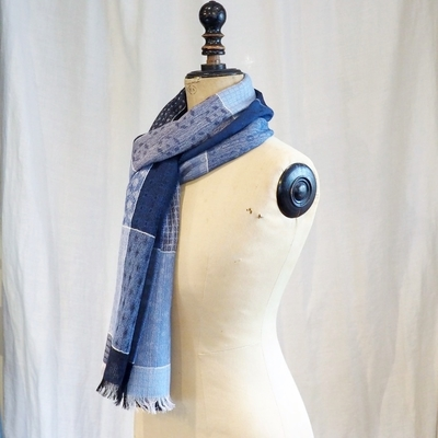 ダッパーズ Quilt Pattern Woolen Scarf by V.FRAAS LOT1278 BLUE/GRAY(QUILT PATTERN)