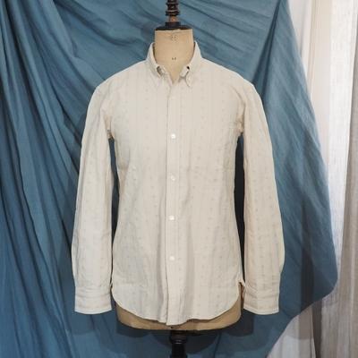 アジャスタブルコスチューム×フランボヤント オリジナル ドビーストライプ ワークスタイルBDシャツ ナチュラル
