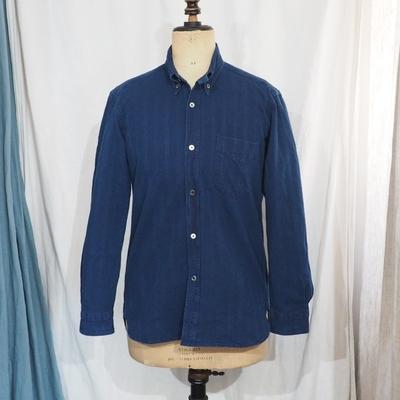 アジャスタブルコスチューム×フランボヤント オリジナル ドビーストライプ ワークスタイルBDシャツ インディゴ