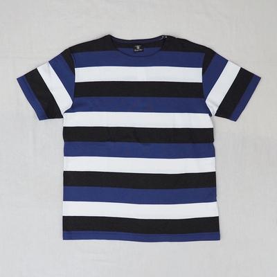 ジャンゴアトゥール スムース ボーダー Tシャツ ブルー×ダークグレイ×オフホワイト Mサイズ