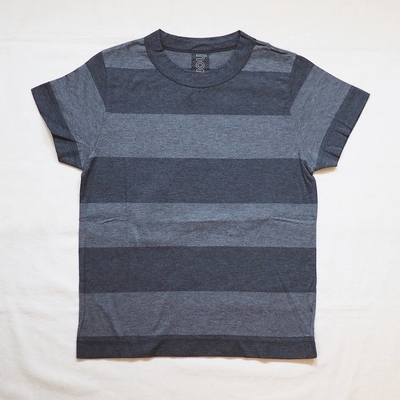 ホームスパン 太ボーダー半袖Tシャツ TOPチャコール×TOPダークチャコール