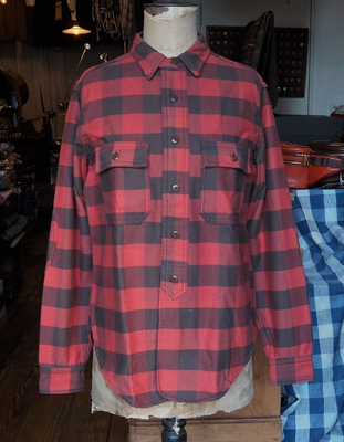 フリーホイーラーズ ランバージャック シャツ ORANGE RED×CHARCOAL BROWN 16サイズ