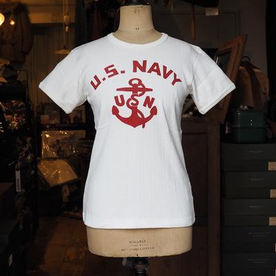 """ジェラード クルーネック 針抜き Tシャツ """"U.S. NAVY"""" ホワイト   Lサイズ"""
