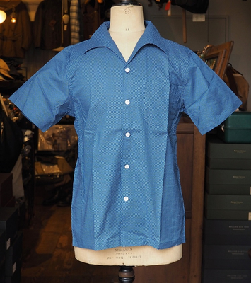 アジャスタブル コスチューム ドット イタリアンカラー ショートスリーブ シャツ 2016 ブルー(ドット) 36サイズ