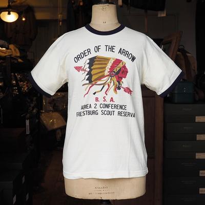 ジェラード B.S.A. インディアン プリント リンガーTシャツ  オフホワイト×ネイビー Mサイズ