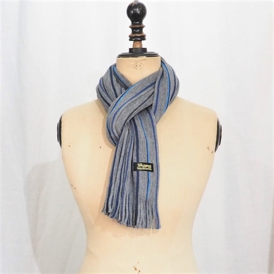 ダッパーズ LOT1355 Russell Knitting Woolen Scarf by V.FRAAS LIGHT GRAY/BLUE【PENCIL STRIPE】
