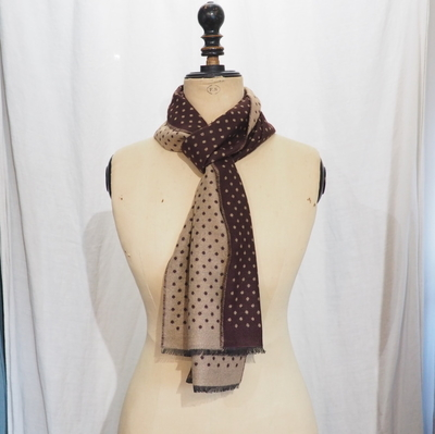 ダッパーズ LOT1354 Cashmink Scarf by V.FRAAS WINE RED/BEIGE【DOT】