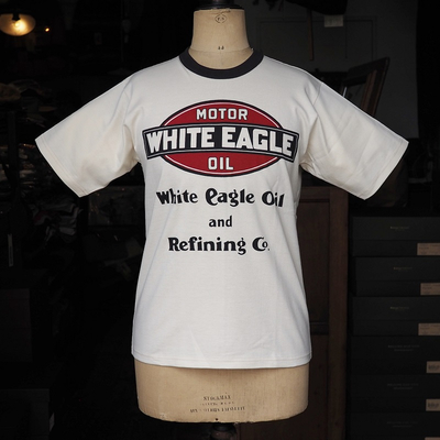 "ブートレガーズ Tシャツ ""WHITE EAGLE"" STRAW CREAM×JET BLACK"
