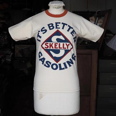 """ブートレガーズ Tシャツ """"SKELLY"""" STRAW CREAM×ADOBE RED Youth M"""